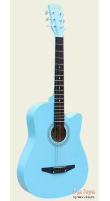 Фото AISHENG G38BL (Голубая акустическая гитара с разноцветными струнами)