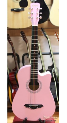 Фото AISHENG G38P (Розовая акустическая гитара с разноцветными струнами)
