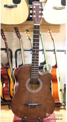 Фото AISHENG G38BR (Коричневая акустическая гитара с разноцветными струнами)