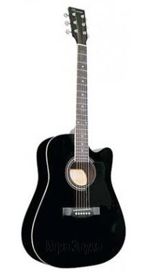 Фото CARAYA F601 BLACK (Черная акустическая вестерн-гитара с вырезом)
